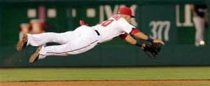 Ian Desmond extends (get it!) for a baseball