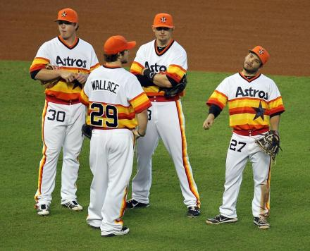 The rainbow uniforms seem appropriate for the phoenix-like Astros